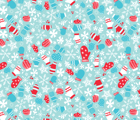 Mitten Montage - Blue Frost fabric by tonia_dee on Spoonflower - custom fabric