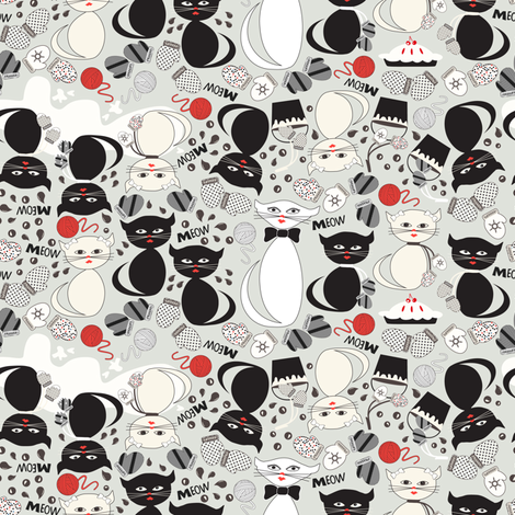 3 Little Kittens and Mittens fabric by mag-o on Spoonflower - custom fabric