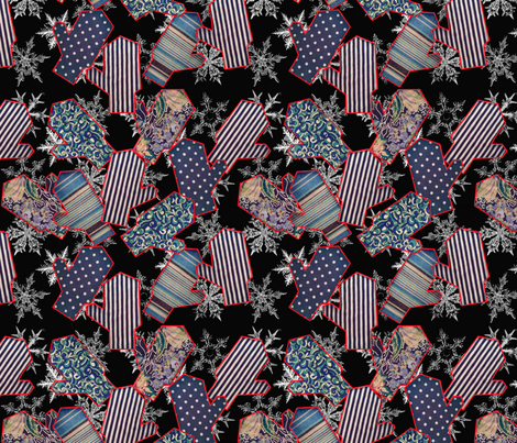 Snowflakes & mittens  fabric by ms_majabird on Spoonflower - custom fabric