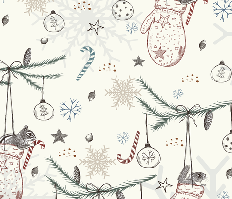 Squirrels Heavenly Chritmas fabric by belle13 on Spoonflower - custom fabric