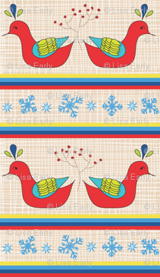 Holiday Kissing Birds with berries