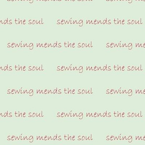 sewing mends the soul - red on mint