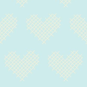 cross your heart - cream on pale blue