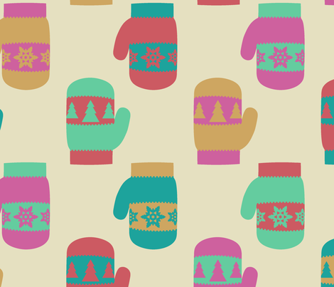 Winter Mittens fabric by tjaneo on Spoonflower - custom fabric