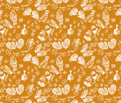 Ditsy Mitts gold fabric by craftonista on Spoonflower - custom fabric