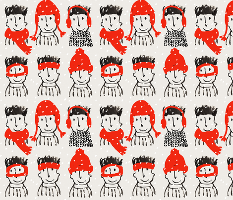simon's winter hats fabric by mummysam on Spoonflower - custom fabric