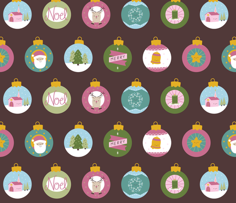 Kitschy Christmas Baubles Fabric fabric by wildolive on Spoonflower - custom fabric