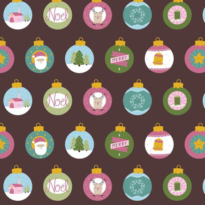 Kitschy Christmas Baubles Fabric