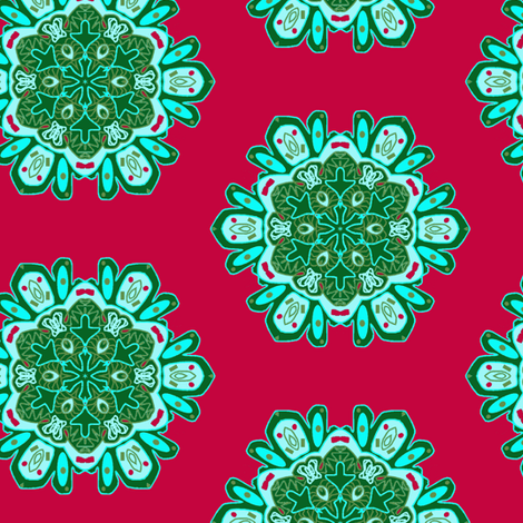 Snowflakes in Red and Green fabric by captiveinflorida on Spoonflower - custom fabric