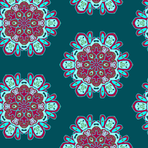 Snowflakes in Teal and Red fabric by captiveinflorida on Spoonflower - custom fabric