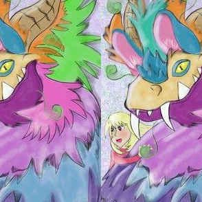 Party Dragon and Little Girl
