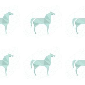 Blue Origami Horses by Friztin - Medium