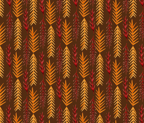 Dark Autumn Pine Leaves  fabric by katrinazerilli on Spoonflower - custom fabric