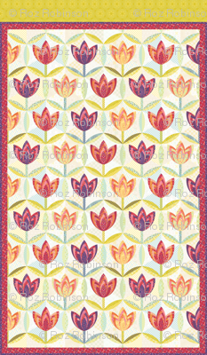 hexagon block tulip cheater quilt - twin bed