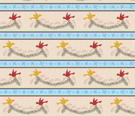 Birds and berries evergreen swag fabric by vanillabeandesigns on Spoonflower - custom fabric