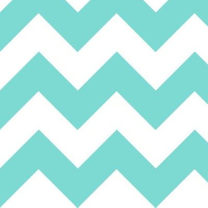 Chevrons Aqua and White