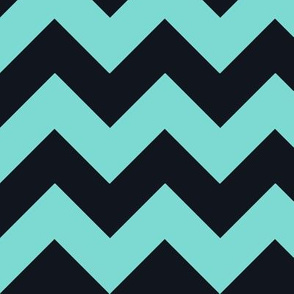 Chevrons Aqua and Black