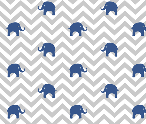 Baby Elephants in Blue and Gray Chevron fabric by sparrowsong on Spoonflower - custom fabric