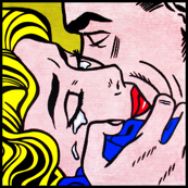 pop art comic girl woman kiss hug vintage retro