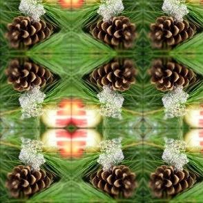 Pine cone, ornament, snow