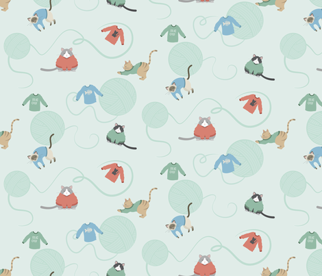 Sweater Kitties fabric by lunasol on Spoonflower - custom fabric