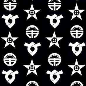 Black & White Japanese Municipal Crest Stripes