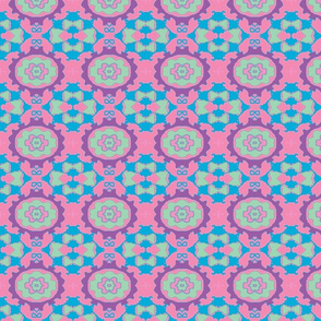 Oval Ikat Tiles/Pink, Blue/Plum/Turquoise