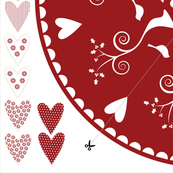 Christmas Tree Skirt and hearts garland