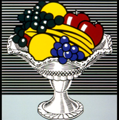 pop art comic still life fruits crystal bowl apples bananas grapes
