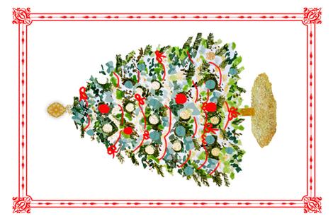 Christmas Tree Wall Hanging on Linen Canvas fabric by karenharveycox on Spoonflower - custom fabric