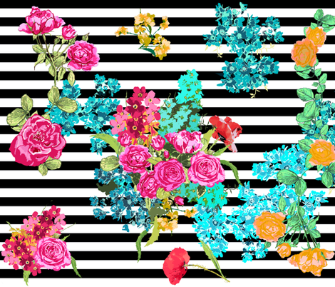 floral bouquet on black stripe fabric by katarina on Spoonflower - custom fabric