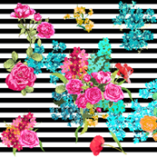 floral bouquet on black stripe Spoonflower by Katrina