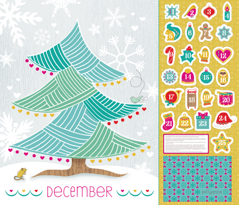 Cut-and-Sew Advent Tree fabric by pollyannahandmade on Spoonflower - custom fabric