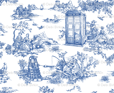 Toile de Jouy blue phone boxes