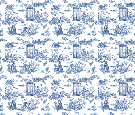 Toile de Jouy blue phone boxes fabric by debi_birkin on Spoonflower - custom fabric