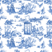 Toile de Jouy blue police boxes
