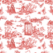 dr who toile de jouy red
