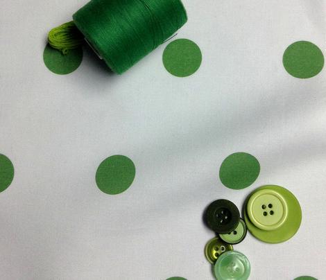 Polka Dot - Green on White