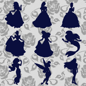 Disney Princess on Navy Lace Print