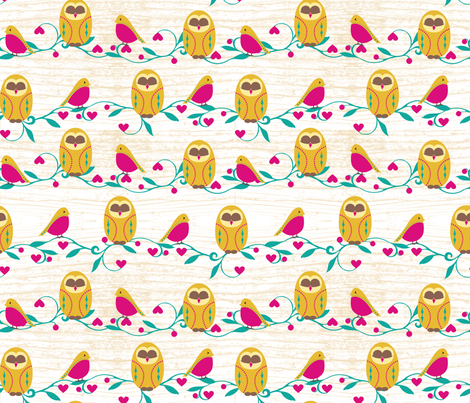Holiday Feathered Friends fabric by pollyannahandmade on Spoonflower - custom fabric