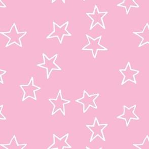 White Stars on Pink