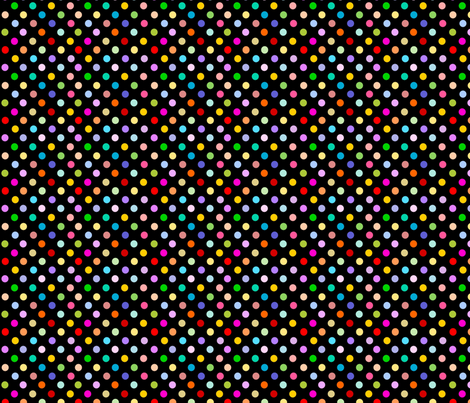 Colorful polka dots on black