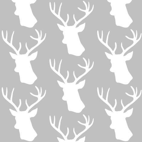 Stag Deer head pattern on grey