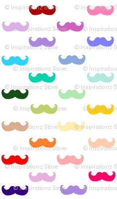 Rainbow mustache pattern