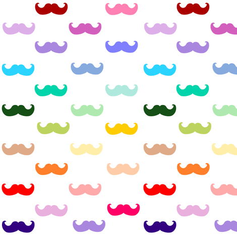 Rainbow mustache pattern fabric by inspirationz on Spoonflower - custom fabric