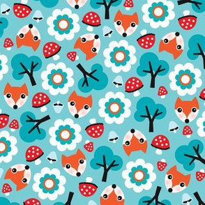 Baby fox fall pattern cute tossed woodland design for fall and winter