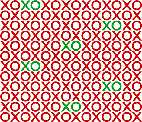 XOXO : red + green : big fabric by muchoxoxo on Spoonflower - custom fabric