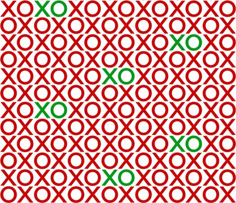 XOXO : red + green : big fabric by muchoxoxo on Spoonflower - custom fabric