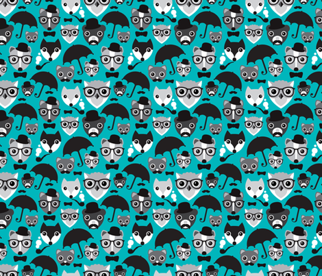 Hipter fox owl bear and skunk fabric by littlesmilemakers on Spoonflower - custom fabric