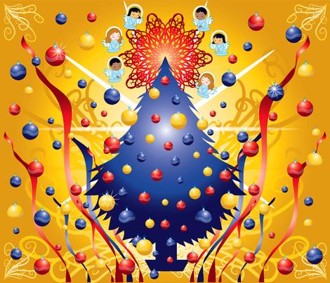 christmas_tree wall hanging fabric by scifiwritir on Spoonflower - custom fabric